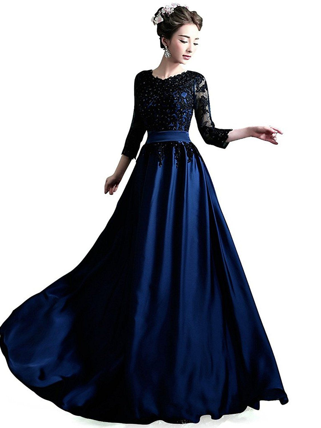 Amazon.com: Everlast Beaded Lace Long Evening Dresses with Sleeves A ...