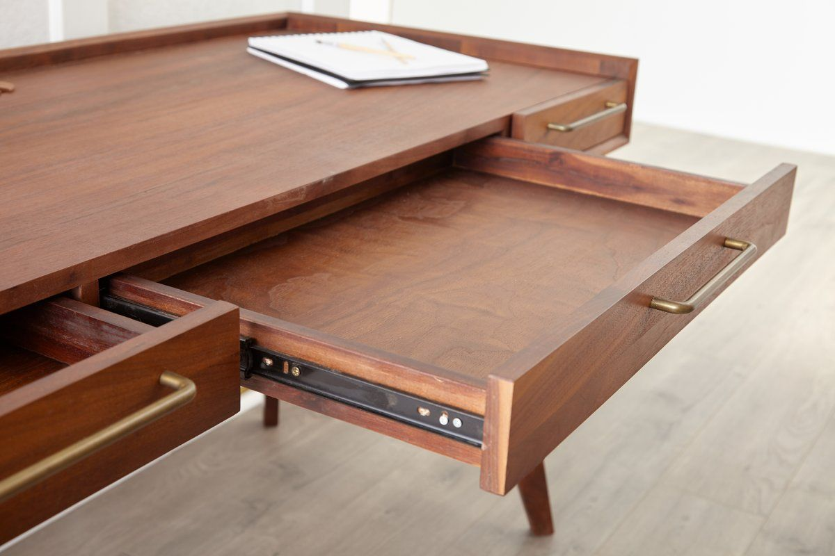 Moffitt Solid Wood Writing Desk Wood Writing Desk Solid Wood