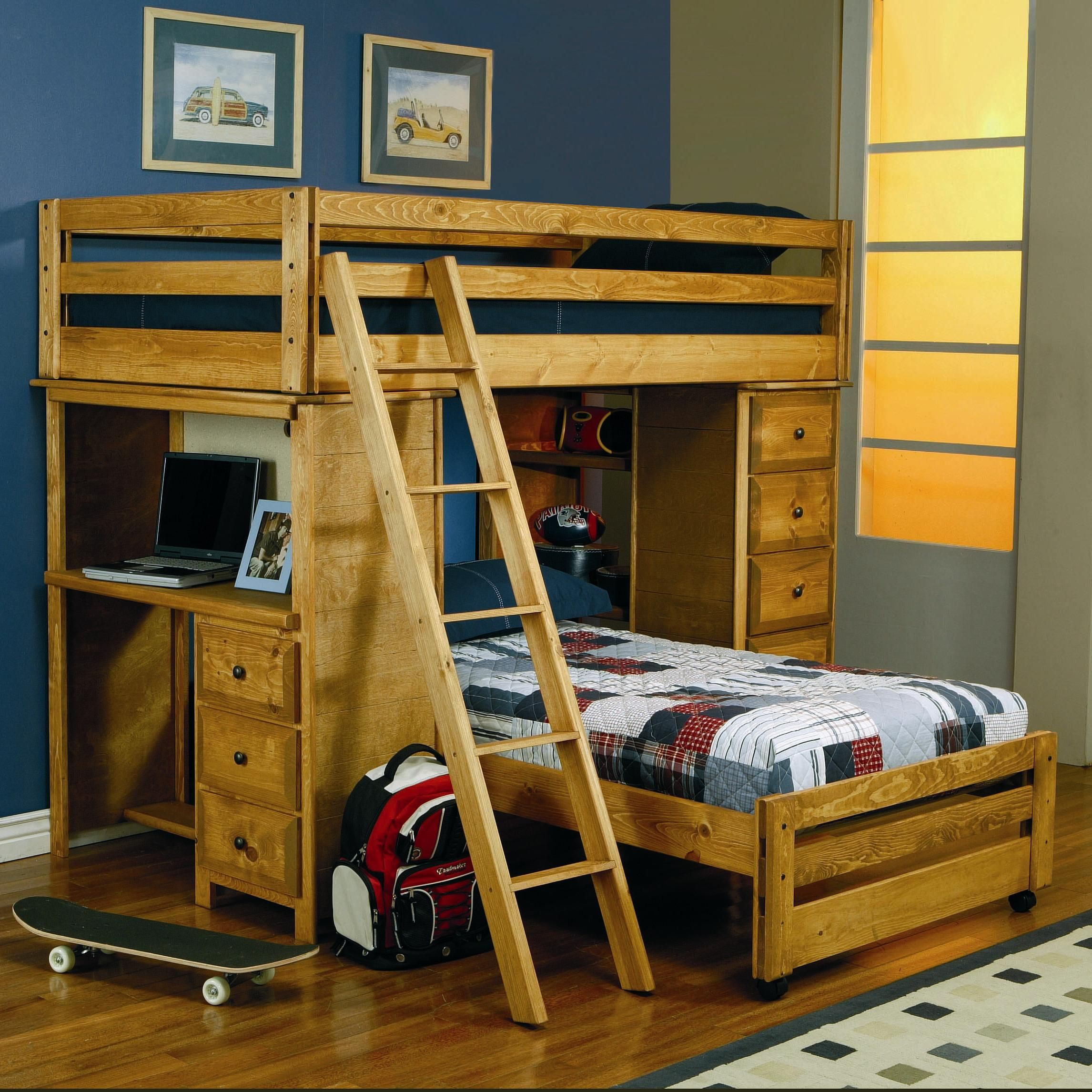 Twin Over Loft Bed With Built In Desk Crystal Lake Cary Algonquin Bunk Bedstwin Size