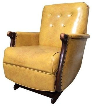 Pre Owned 1940s Yellow Vintage Leather Platform Rocker Chair Transitional Armchairs And Accent Cha Platform Rocker Rocker Chairs Upholstered Rocking Chairs