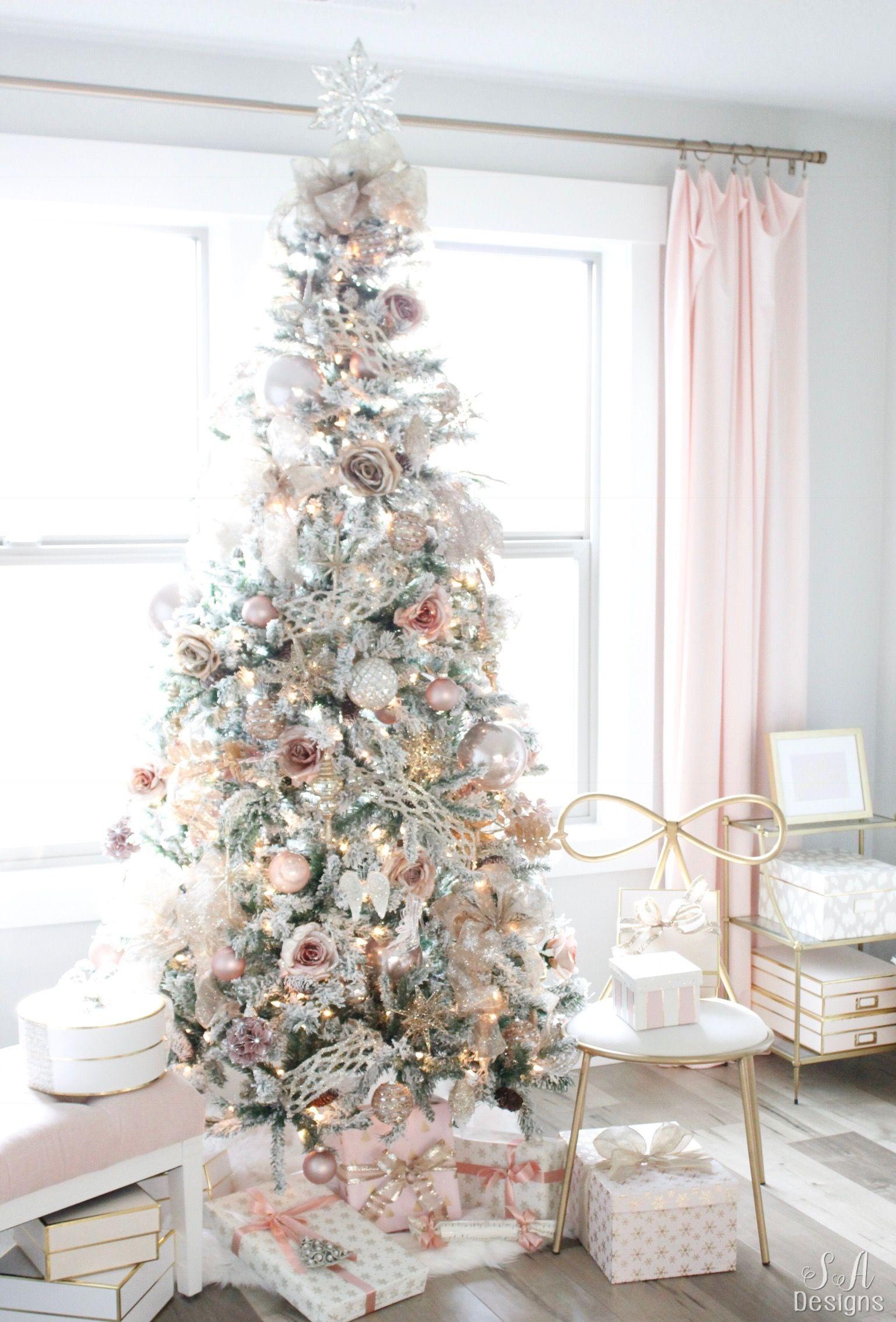 My Blush Pink Flocked Christmas Tree | Best Home Decor Ideas ...