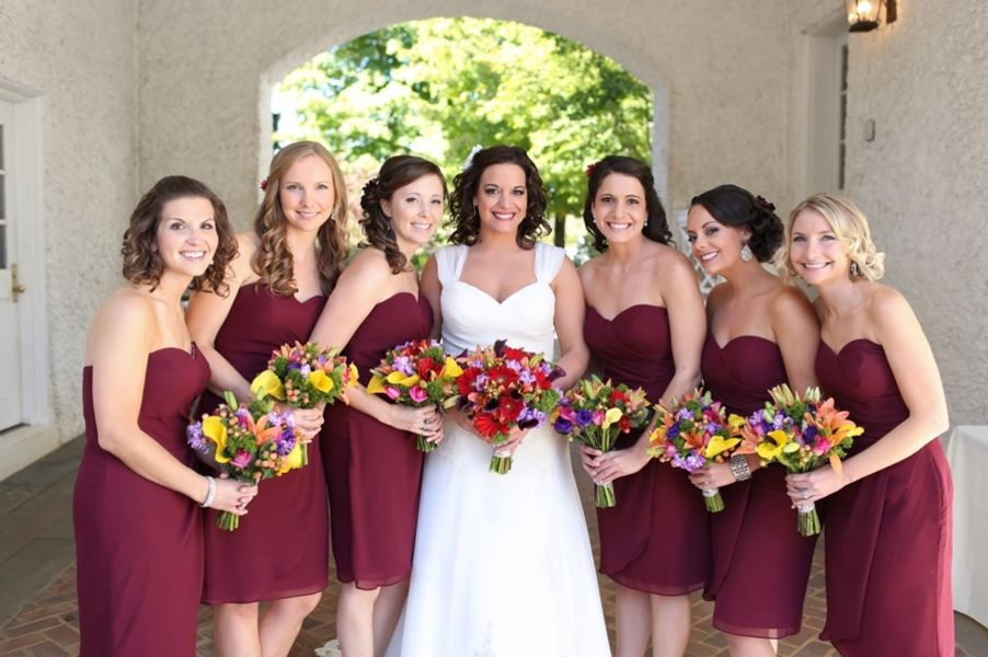 Fall Bridal Party Outdoor Charlottesville Wedding Ceremony At Keswick Vineyards Renee Ryan