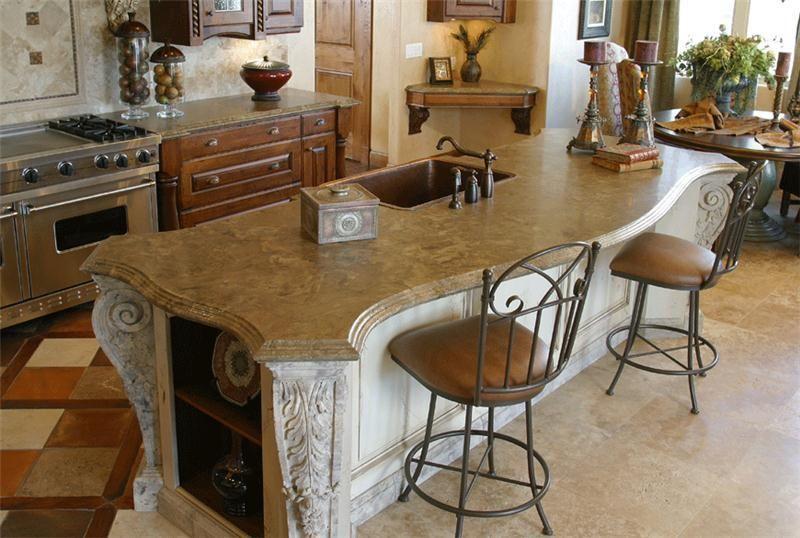 Old World kitchen design featuring concrete countertops. Stone ...