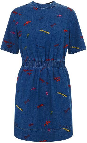 House Of Holland Embroidered Denim Dress in Blue (denim)