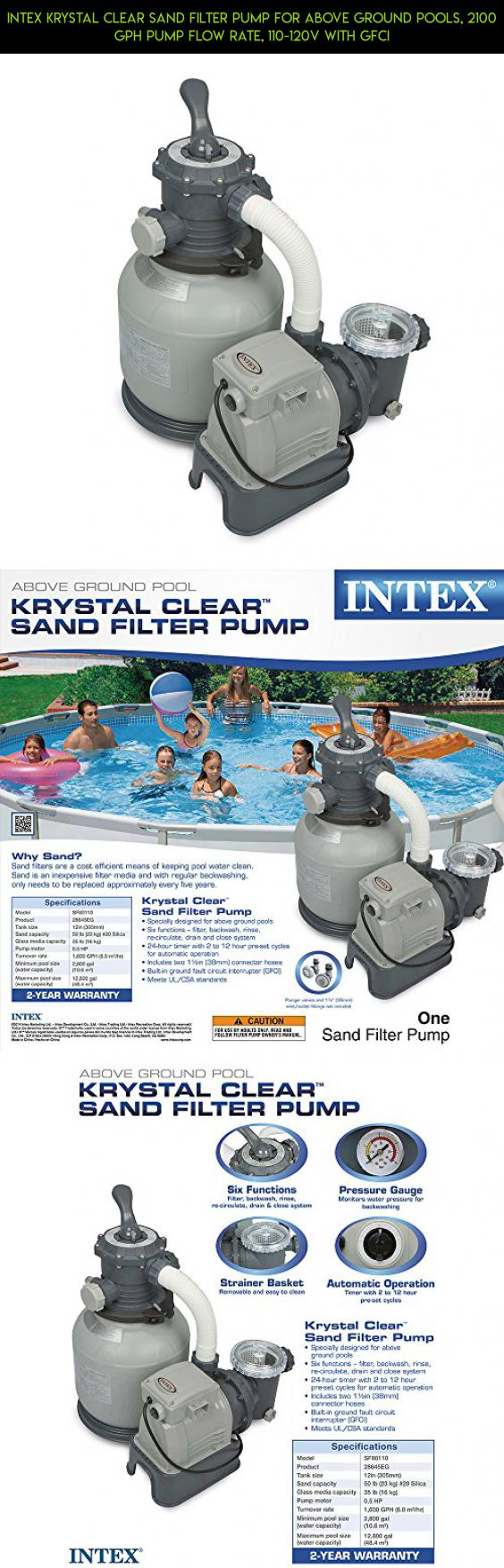 Intex Krystal Clear Sand Filter Pump For Above Ground Pools, 2100 GPH Pump  Flow Rate