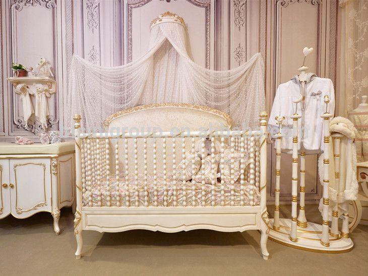 Bisini Royal Baby Custom Made Wood Baby Crib French Style Elegant