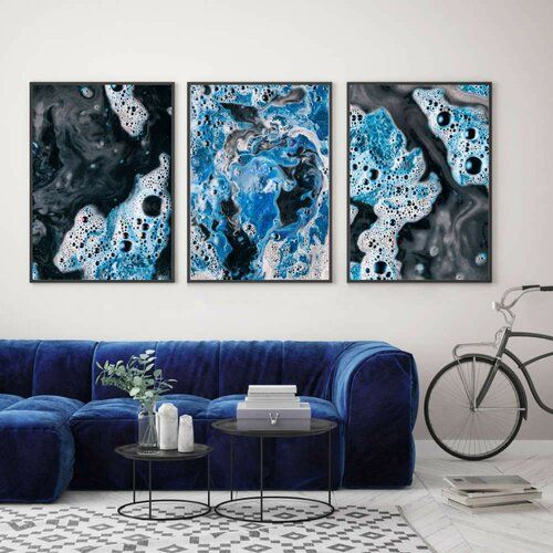 East Urban Home 3-tlg. Poster-Set Blau-weiße Farbwirbel | Wayfair.de #homegifts