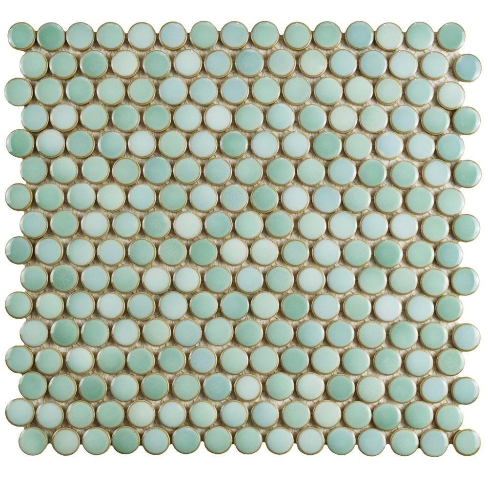 Merola Tile Hudson Penny Round Mint Green 12 In X 12 5 8 In X 5 Mm Porcelain Mosaic Tile Fkompr32 Penny Tile Penny Round Tiles Mosaic Tiles