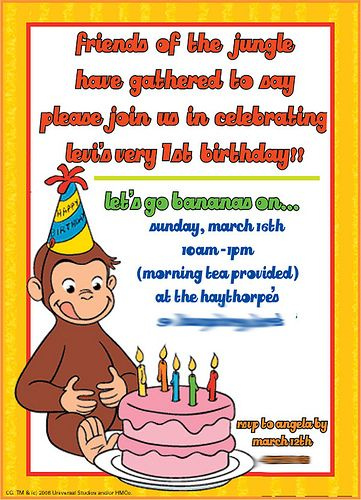 free curious george invitations templates Curious free george