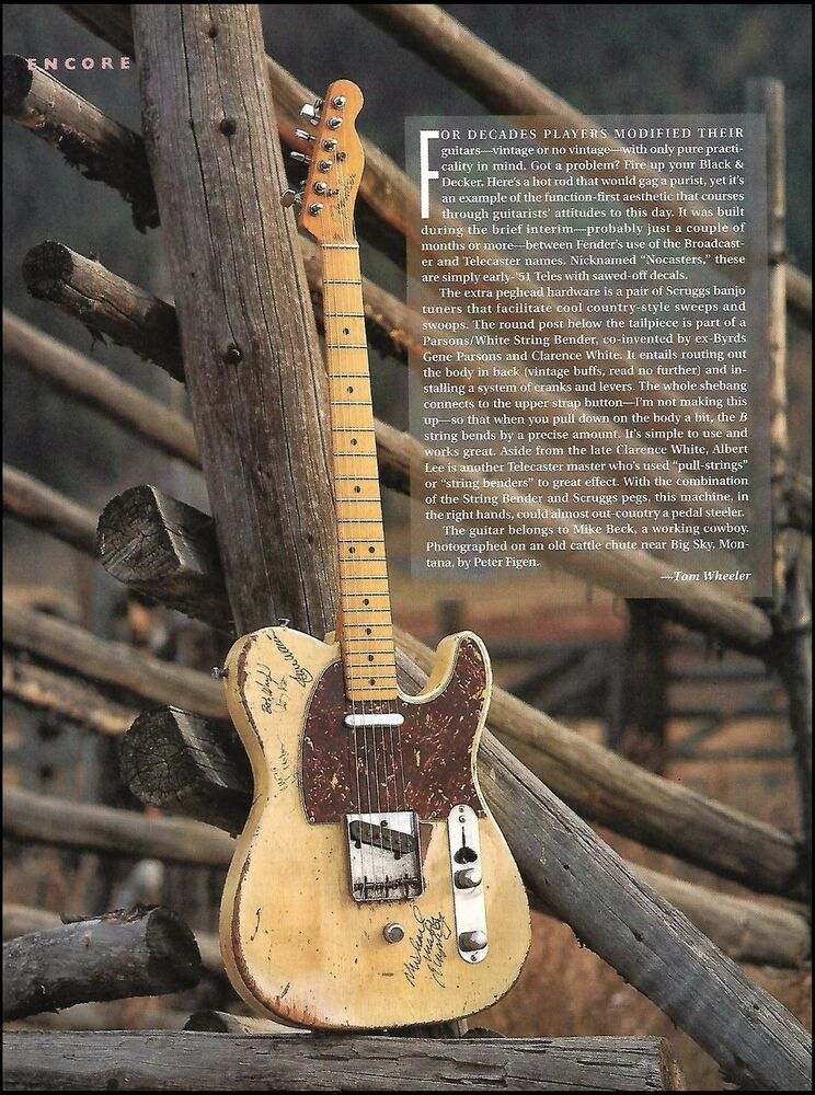 Fender 1951 Nocaster vintage guitar 8 x 11 pinup photo 1991 full page article #Fender #vintageguitars