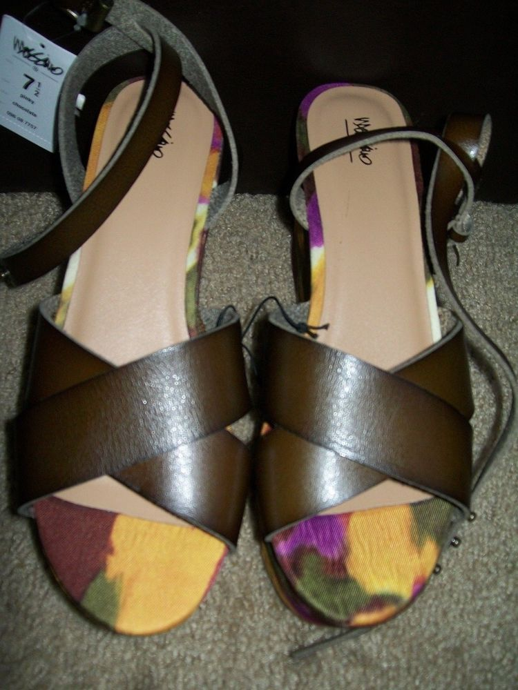 788e9fb3864d Mossimo Wedge Flatform Vegan Leather Abstract Criss Cross Ankle Strap Size  7.5  Mossimo  PlatformsWedges