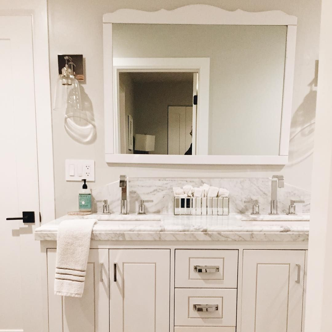Custom Built Vanity Made For A Carrara Top Found On Craigslist Isn T This White Bathroom Gorgeous Bathroom Inspiration Bathroom Vanity Tops White Bathroom