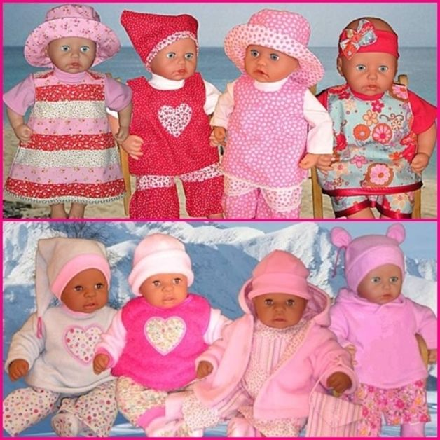 Hier biete ich euch ein selbst entworfenes Schnittmusterpaket an,    35 Modelle Sommer- und Wintermode für Puppen,   passend für Babypuppen der Größe 46-48 cm.  Solltet ihr euch nicht ganz...