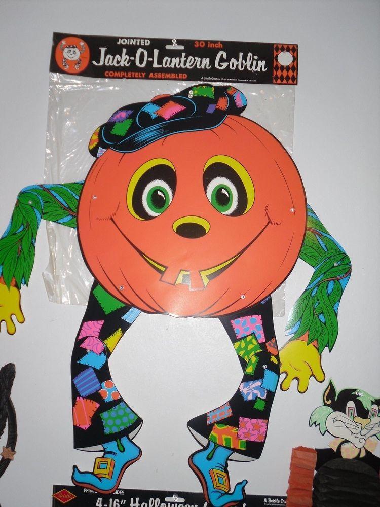 Large Vintage Beistle Halloween Decoration Jack O Lantern Jointed Goblin Pumpkin Vintage Halloween Vintage Halloween Decorations Halloween Jack O Lanterns
