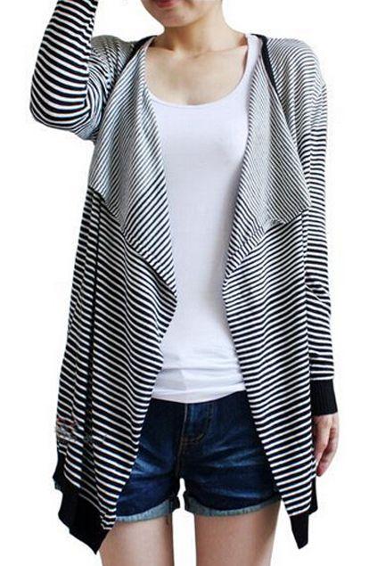 ROMWE | Romwe Asymmetric Stripe Print Contrast Trimming Loose Cardigan, The Latest Street Fashion