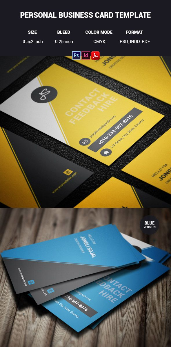 Personal INDD PDF PSD Format Business Card Template Business Card - Business card template indd
