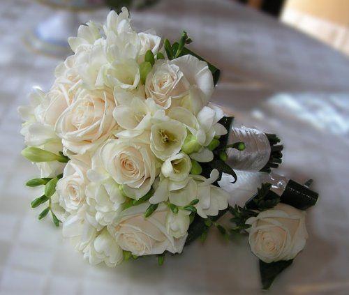 white roses and freesia