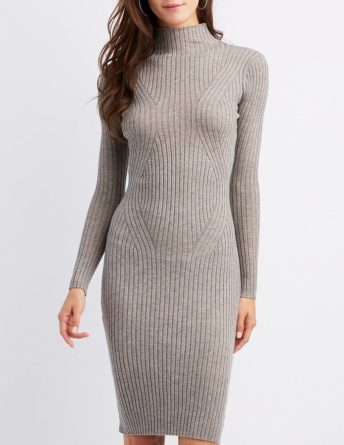 0cf77224140 Charlotte Russe Ribbed Knit Bodycon Sweater Dress