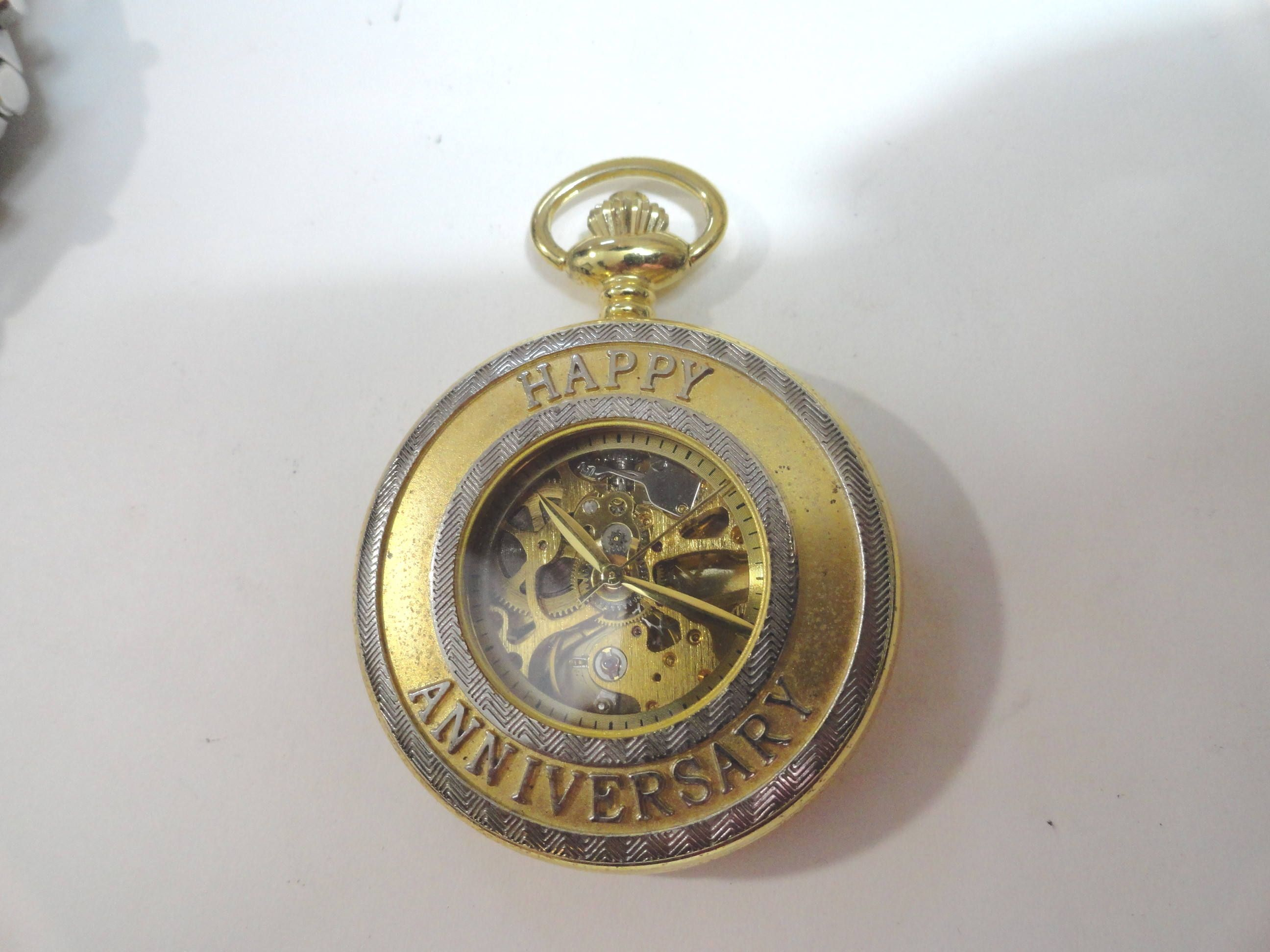 Vintage Majesti Skeleton Pocket Watch Happy Anniversary Running 45mm by KayesVintageJewelry on Etsy