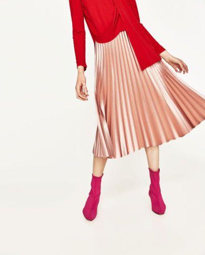 a741decbc5 ZARA-Pink-Pleated-Midi-Skirt-Shiny-Fabric-Accordion-Pleated-LARGE-5065-042