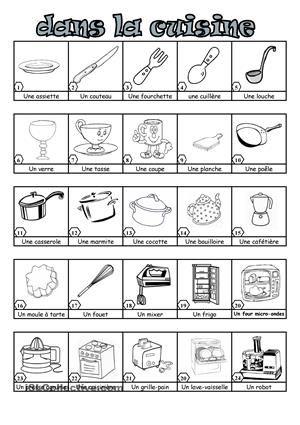 Dans la cuisine cuisine vocabulaire cuisine ustensile cuisine et vocabulaire - Liste materiel de cuisine ...