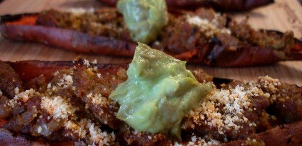 Superbowl Snacks: Avocado Chorizo Sweet Potato Skins #Paleo  Sounds AHHH-mazing