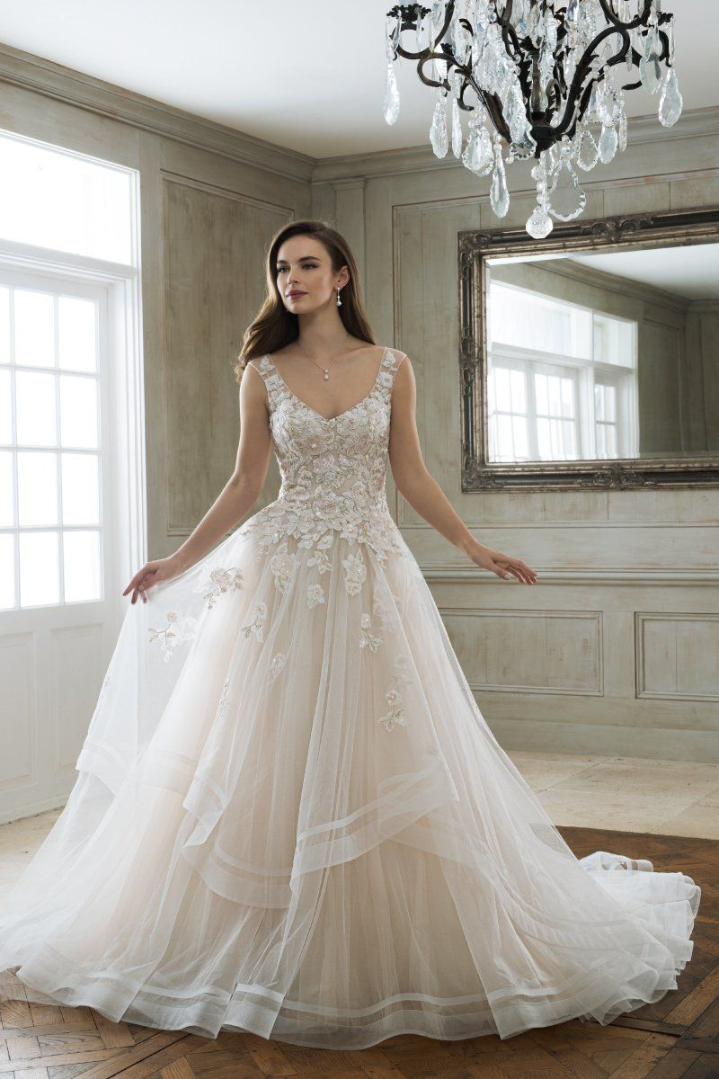 cb2d64bb8 A-line wedding dress idea - romantic wedding dress with lace bodice and  layered skirt. Y11898 Maia by Sophia Tolli. Find more #weddingdress inspo  from Mon ...