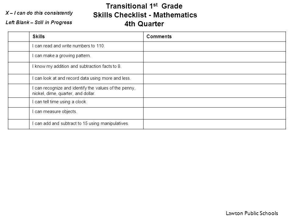 math worksheet : transitional 1st grade skills checklist reading 1 ...