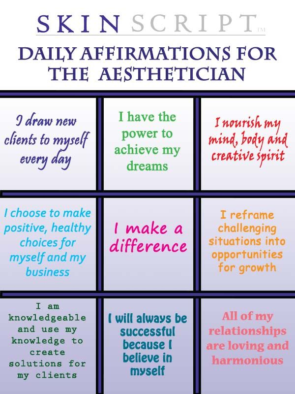 Daily Affirmations For The Aesthetician We All Make A Difference