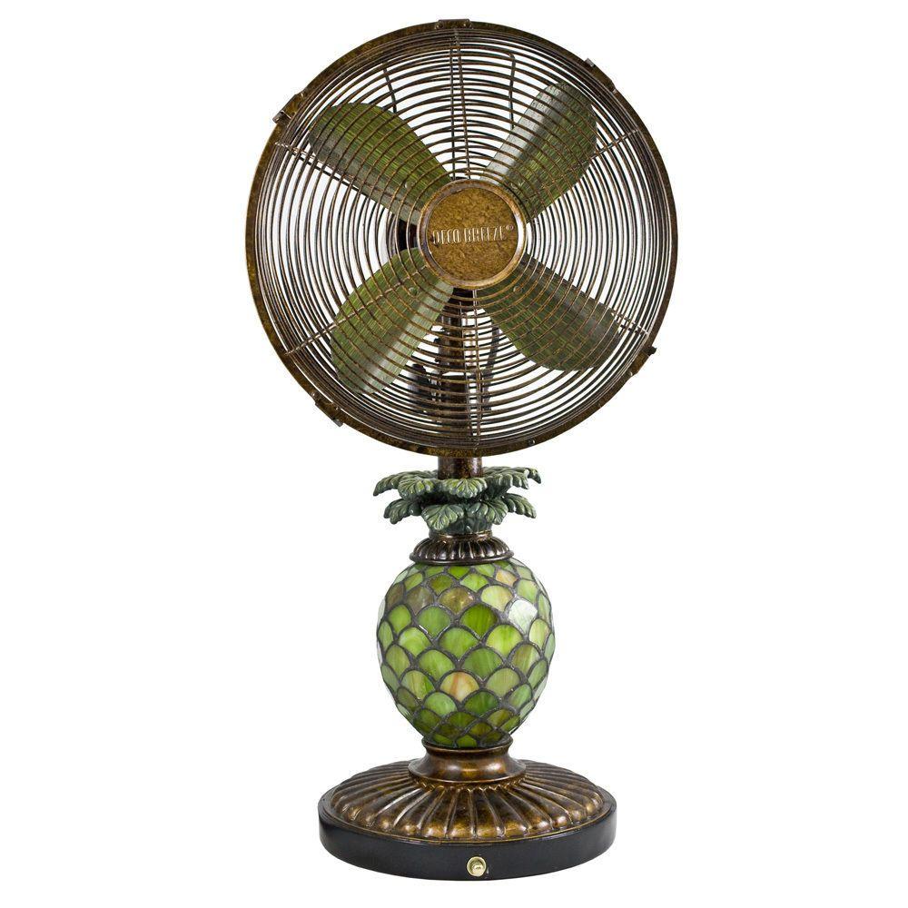 Deco Breeze Dbf0247 Mosaic Glass Pineapple 10 Inch Table Fan Table Fan Mosaic Glass Fan Lamp