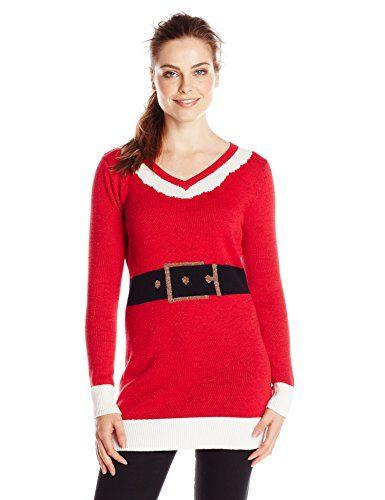 Isabella's Closet Women's Santa Suit Ugly Christmas Sweater Tunic ...