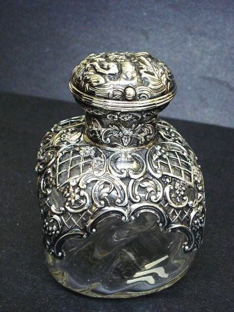 """Antique vintage crystal perfume scent bottle with hallmarked silver overlay, English, c 1900, 5"""" tall."""
