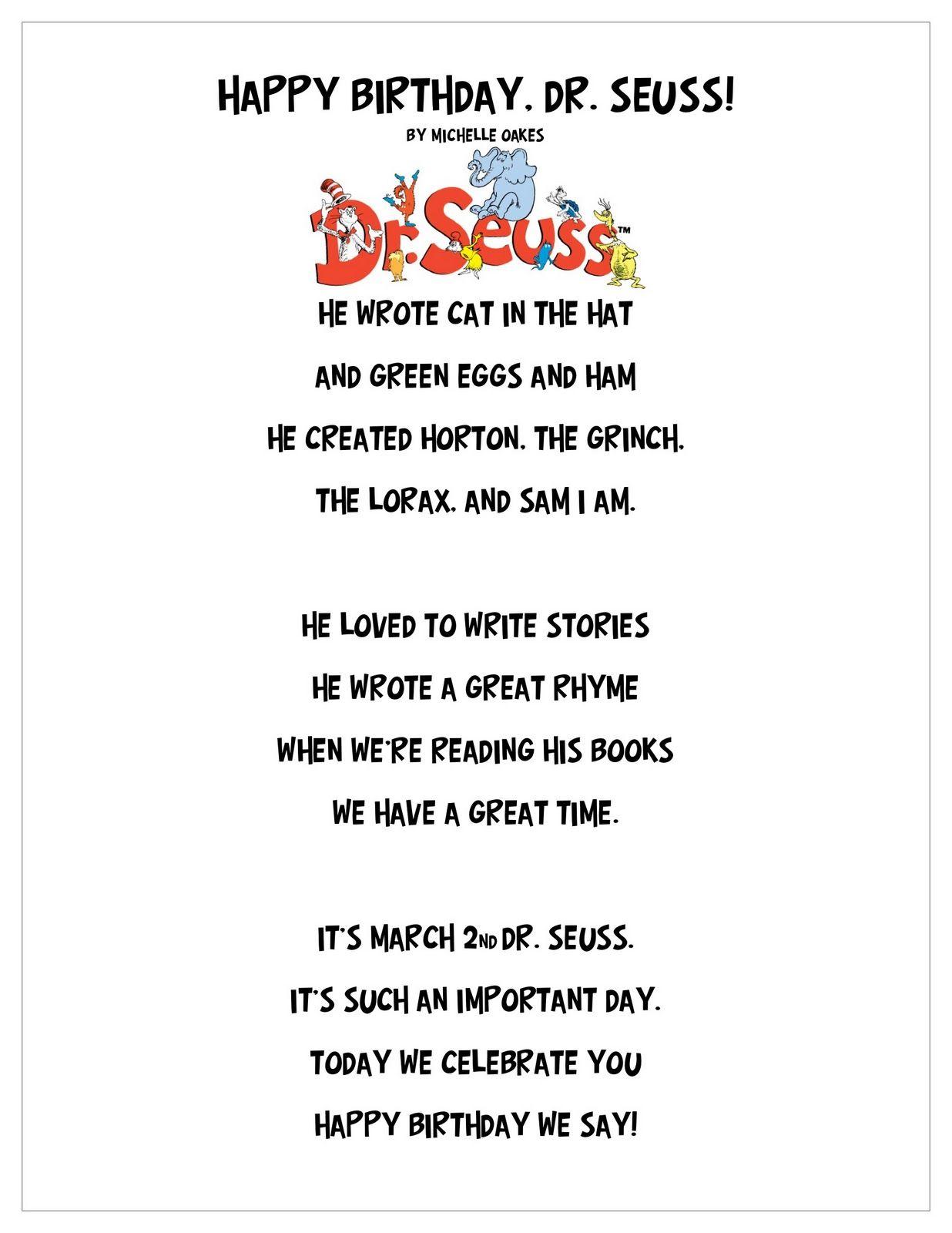 Just 4 Teachers Sharing Across Borders Happy Birthday Dr Seuss Poem And Craft