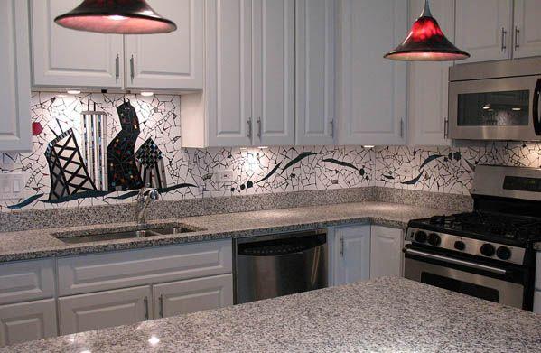 Love This Unique Tile Back Splash So Chic Grey Granite