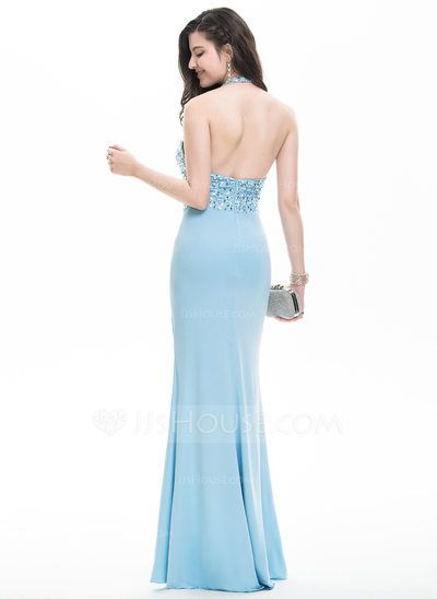 b8dd64c6cff1 Sheath Column Halter Floor-Length Jersey Prom Dress With Beading Sequins Split  Front (018105557)