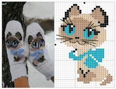 варежки с вышивкой котиком Гав. Рисунок-схема.