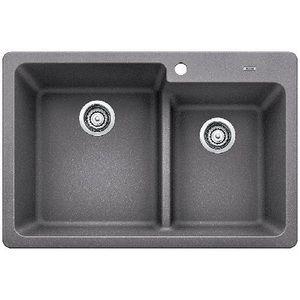 B442094 Grandis White Color Double Bowl Kitchen Sink Metallic