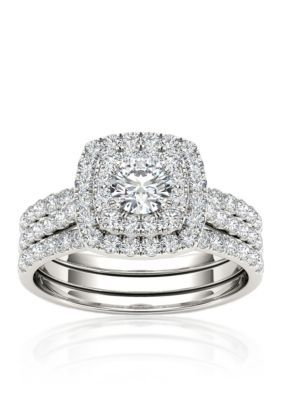 Belk & Co. 1 1/2 Ct. T.W. Double Halo Engagement Ring Set With Two Bands In 10K White Gold. This engagement ring set features a 1 1/2 ct. t.w. double halo diamond measuring 27.45-mm. in length by 20.30-mm. in width with two bands in 10k white gold. Colored diamonds have been treated to enhance their beauty and require special care.