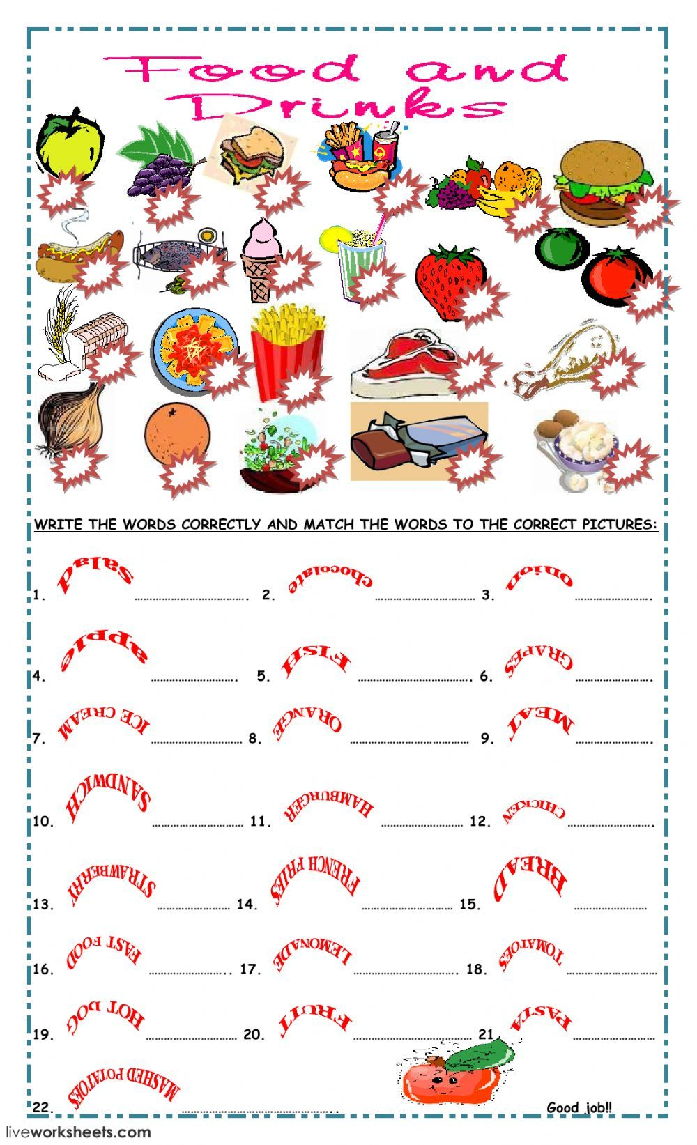 Food and Drinks interactive and downloadable worksheet