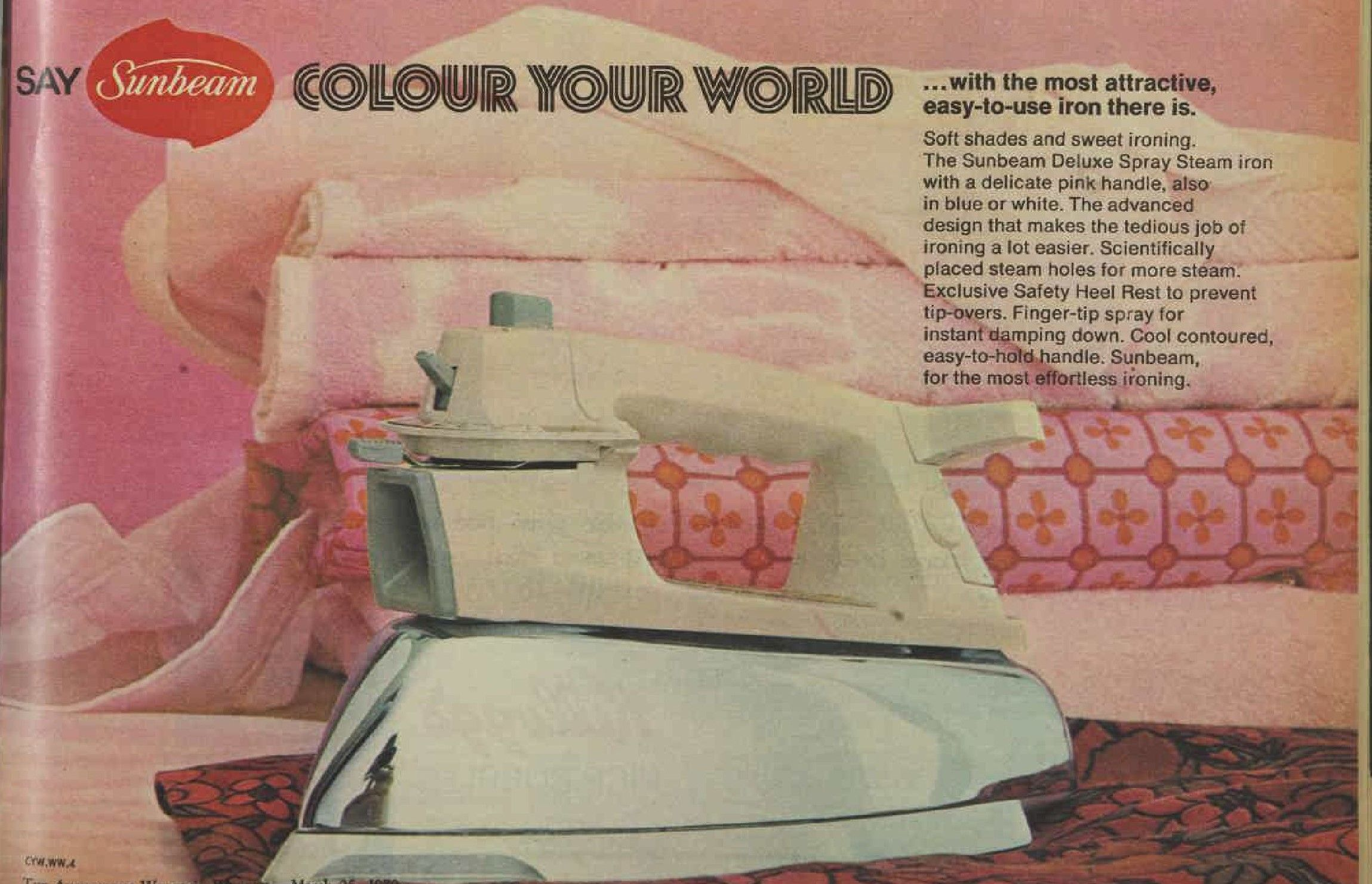 Sunbeam Colour your world Pink Iron Advertisement Ad March 1970 Vintage Retro