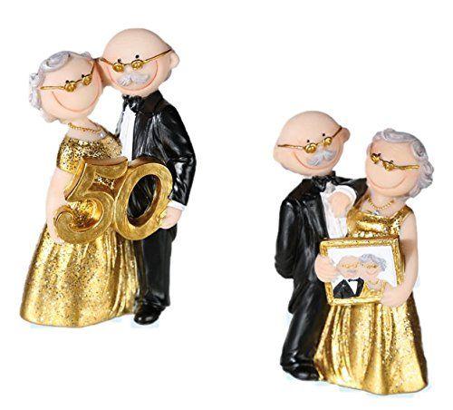 2 Statuine Nozze D Oro 50 Anni Anniversario Sposi Matrimonio