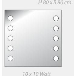 Photo of Top Light Mirror DotLight, 2 x 5 light points, 80 x 80 cm 10x 10 watts, 80.00 cm, 80.00 cm 1-058080