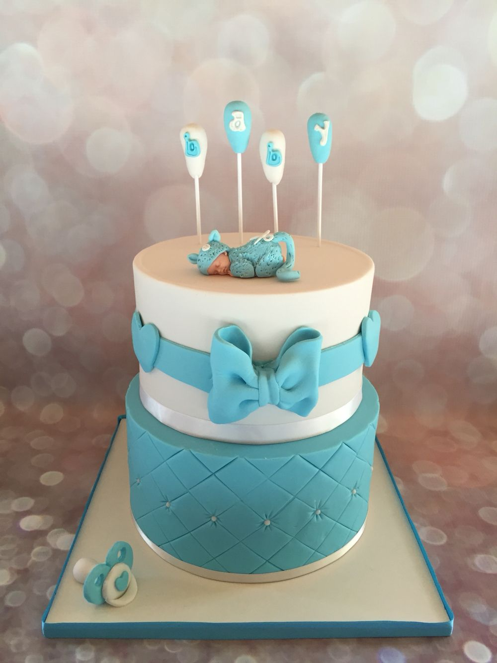baby shower boy fondant cake pi ce mont e b b gar on. Black Bedroom Furniture Sets. Home Design Ideas