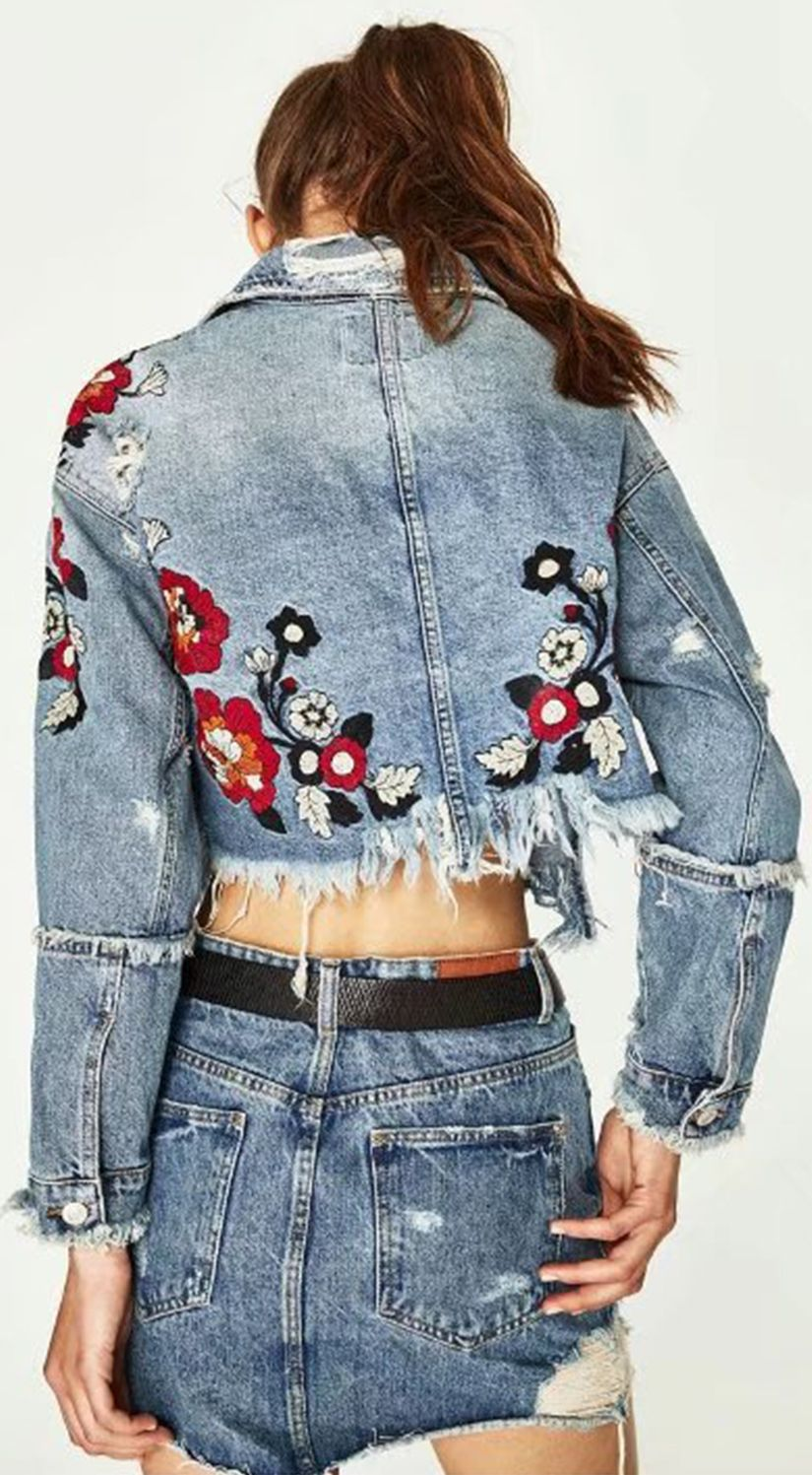ad8a33560bb Long Sleeve Floral Embroidery Ripped Denim Jacket | Fashion Fun ...