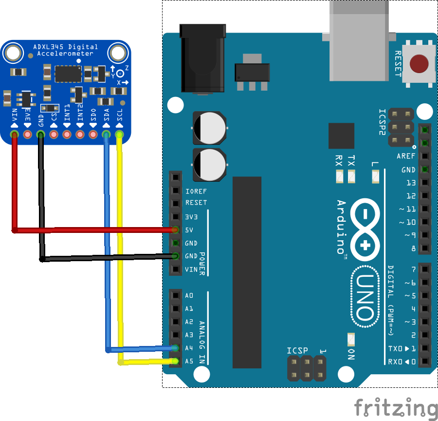 arduino and adxl345 sensor connection