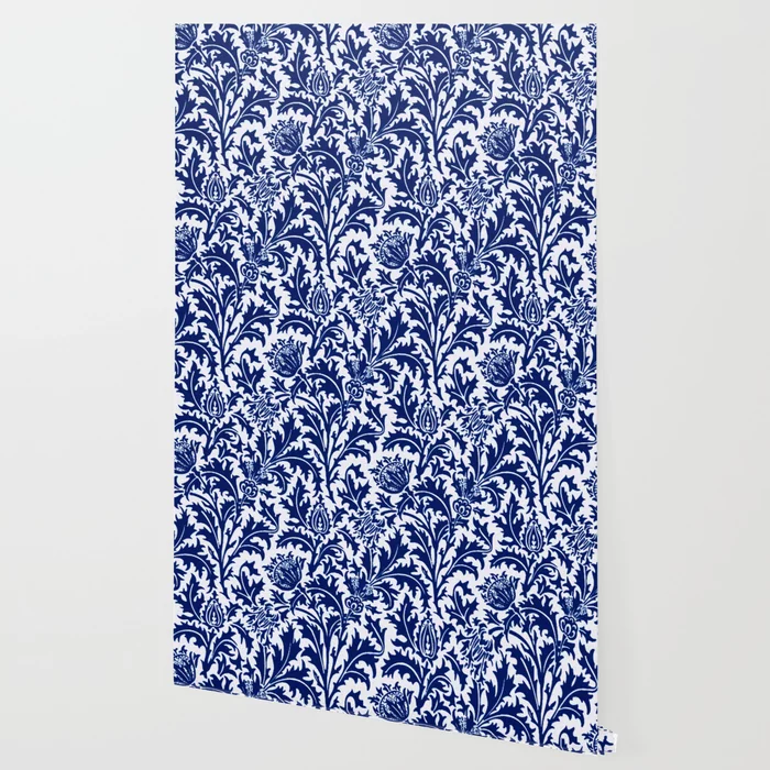 William Morris Thistle Damask Cobalt Blue White Wallpaper By Mmgladn10 Society6 Blue And White Wallpaper White Wallpaper Blue And White
