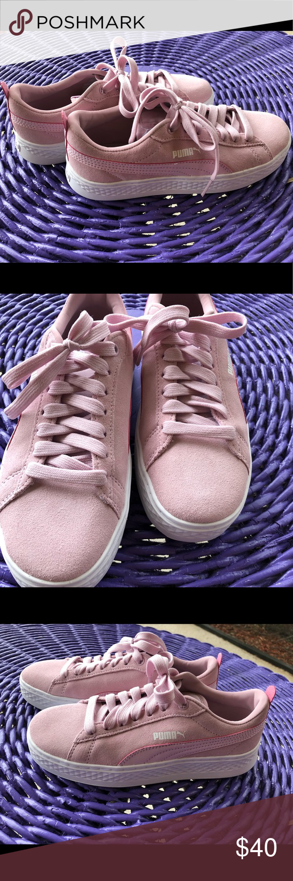 d18bb689170907 PUMA tennis shoes size 7 BRAND NEW ! Suede baby pink brand new PUMA tennis  shoes