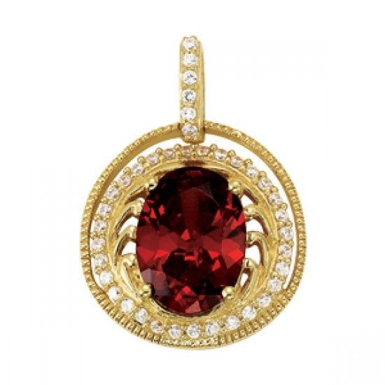 NEW 14k YELLOW GOLD DIAMOND & RED GARNET OVAL CUT HALO CIRCLE PENDANT NECKLACE