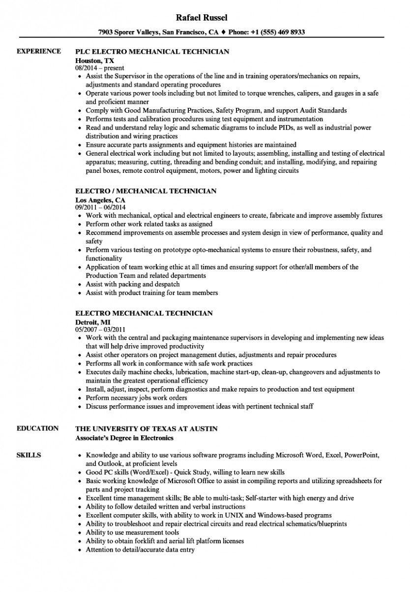 11 Valve Technician Resume In Phrase Format