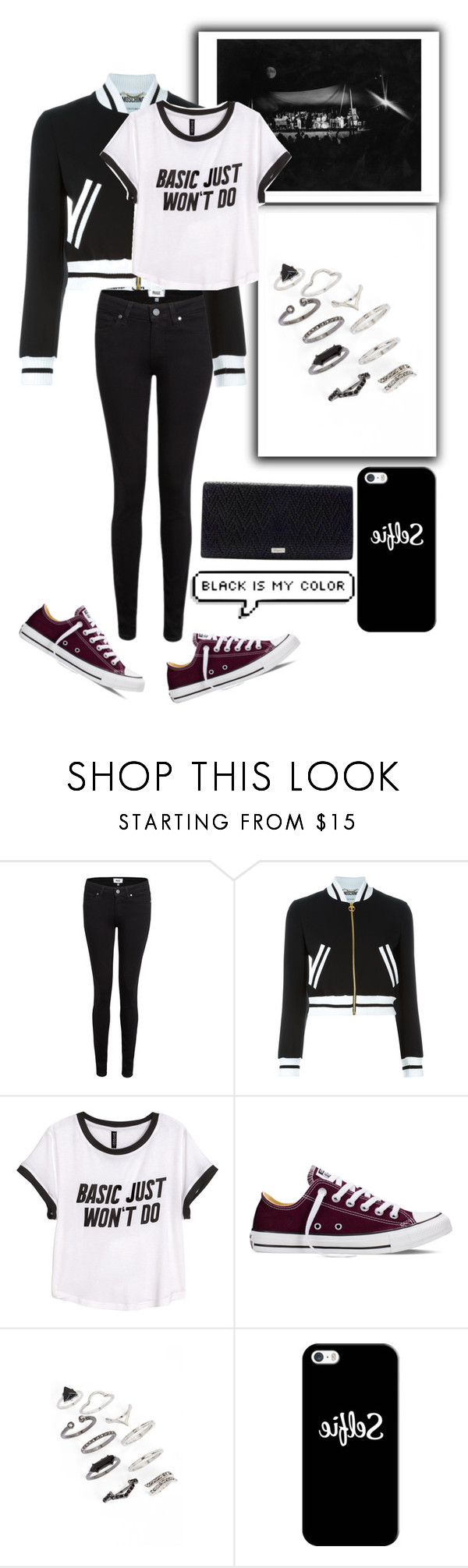 """Dresscode: Black❤"" by nisaarn ❤ liked on Polyvore featuring Paige Denim, Moschino, H&M, Converse, Topshop, Casetify, Salvatore Ferragamo, women's clothing, women and female"